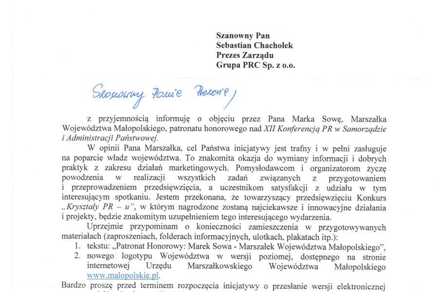 Patronat Marszałka Województwa Małopolskiego